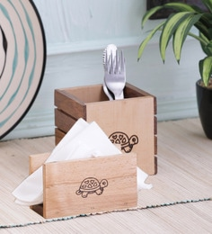 "Vareesha ""Tiny Turtle"" Dual Wood Cutlery & Tissue Holder - Set Of 2"
