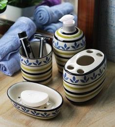 vareesha blue ceramic leaf bathroom accessories set set of 4