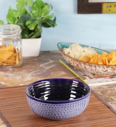 Vareesha Blue Diamond Ceramic Bowl,7 Inh