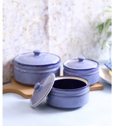 Vareesha Blue Marble Stoneware Ceramic Bowls With Lids - Set Of 3