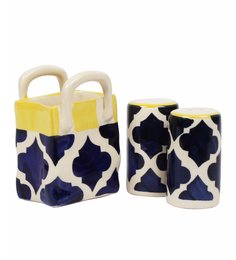 Vareesha Blue Salt N Pepper Ceramic Cutlery Holders - Set Of 2