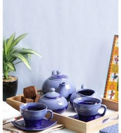Vareesha Blue Stoneware Tea Pot With Cups - Set Of 7