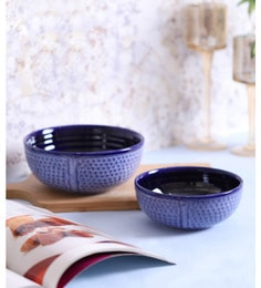 Vareesha Blue Studio Serving Ceramic Bowls - Set Of 2