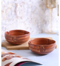 Vareesha Brown Button Serving Ceramic Bowls - Set Of 2