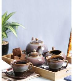 Vareesha Brown Stoneware Tea Pot With Cups - Set Of 7