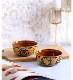 Vareesha Brown Warli Ceramic Bowls - Set Of 2