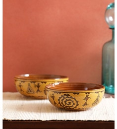 Vareesha Brown Warli Serving Ceramic Bowls - Set Of 2