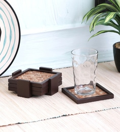 Vareesha Ethnic Bamboo Base Coasters With Holder - Set Of 5