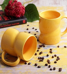 Vareesha Fresh Yellow Milk Ceramic Mugs - Set Of 2