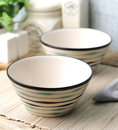 Vareesha Green Spiral Ivory Ceramic Serving Bowls - Set Of 2