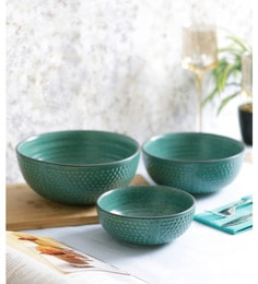 Vareesha Green Studio Ceramic Bowls - Set Of 3