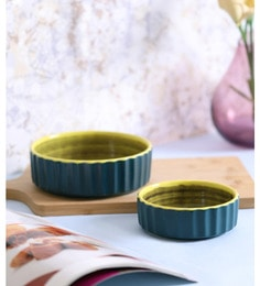 Vareesha Green Yellow Ceramic Chip & Dip Ceramic Bowls - Set Of 2