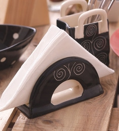Vareesha Hand Crafted Black Spiral Ceramic Cutlery Holder - Set Of 2