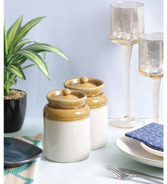 Vareesha Hand Crafted Ceramic Chutney Jar With Lids - Set Of 2