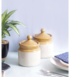Vareesha Hand Crafted Ceramic Pickle Jar With Lids - Set Of 2