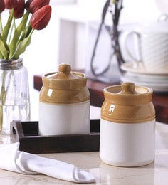 Vareesha Hand Crafted Ceramic Pickle Jars With Tray - Set Of 2