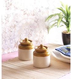 Vareesha Hand Crafted Four Inch Ceramic Pickle Jar With Lids - Set Of 2