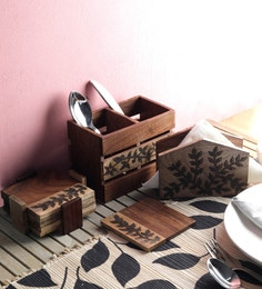 Vareesha Hand Crafted Wooden Cutlery & Tissue Holder With Coasters Combo - Set Of 9