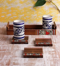VarEesha Handmade 7-piece Wooden Tray With Coaster Set