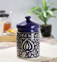 Vareesha Hand Painted Blue Moroccan Ceramic Pickle Jar,7 Inch
