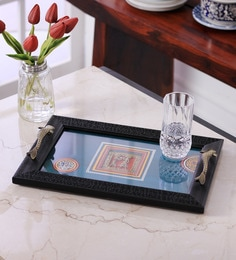 VarEesha Hand Painted Blue Ply Acrylic Framed Serving Tray