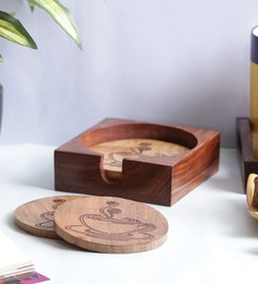 Vareesha Handmade Wooden Coasters With Holder - Set Of 5