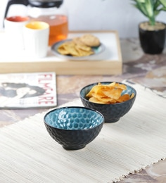 Vareesha Honeycomb Black Turquoise Ceramic Ceramic Bowls - Set Of 2