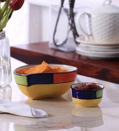 Vareesha Paisley Multicolour Ceramic Serving Plate With Sauce Bowl