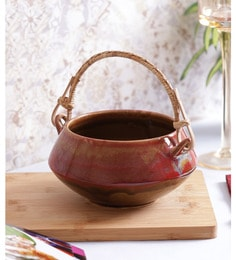 Vareesha Red & Brown Ceramic Bowl With Cane Handle
