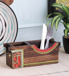 Vareesha Red Curvy Dhokra Wooden Cutlery Holder