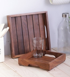 Vareesha Sheesham Square Wooden Trays - Set Of 2