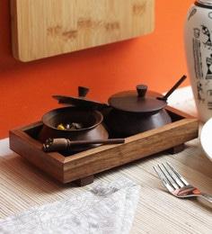 Vareesha Sheesham Wood Tray With Two Handis & Spoons - Set Of 5