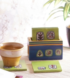 Vareesha Warli Wooden Blue Green Coasters With Holder - Set Of 6