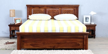 Vayaka Queen Size Bed With Box Storage In Provincial Teak Finish