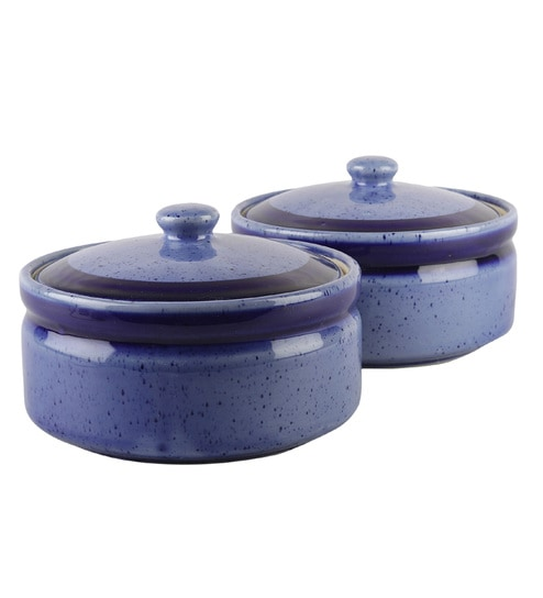 Buy Ceramic 700 Ml Blue Large Serving Bowls Set Of 2 Ceramic