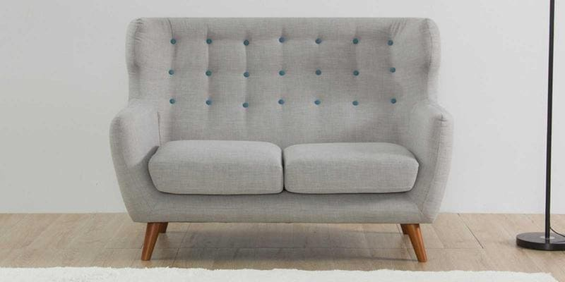 Valencia Two Seater Sofa in Light Grey Colour by CasaCraft