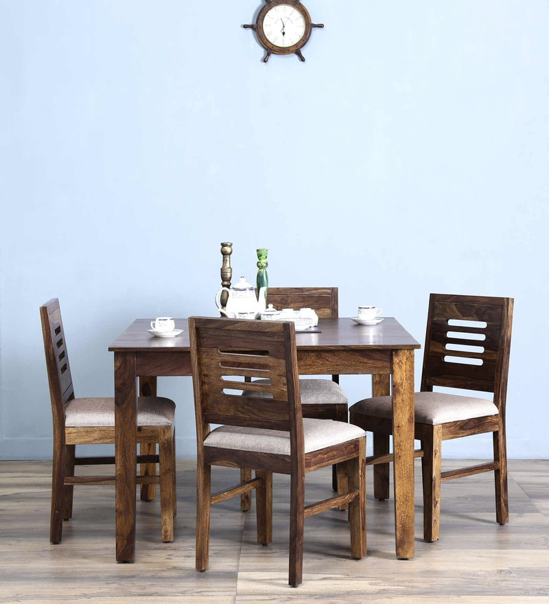 Valencia Four Seater Cushioned Dining Set in Provincial Teak Finish by Woodsworth