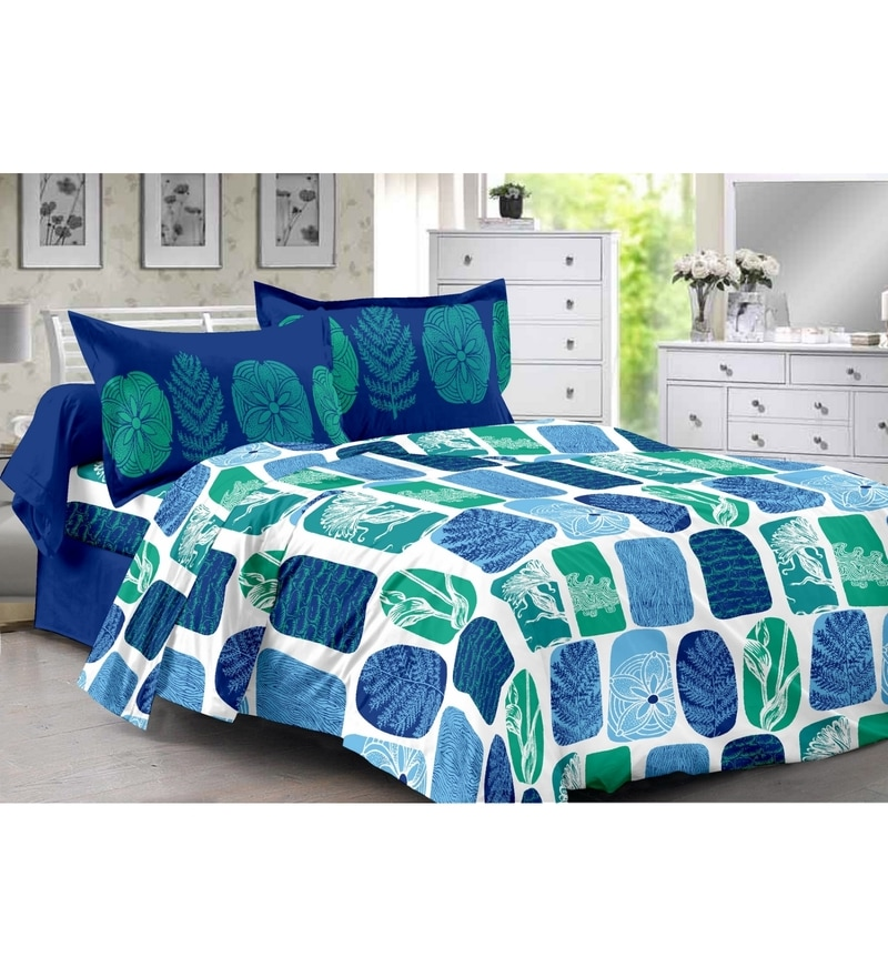 Blue 100% Cotton Queen Size Diva Bed Sheet - Set of 3 by Valtellina