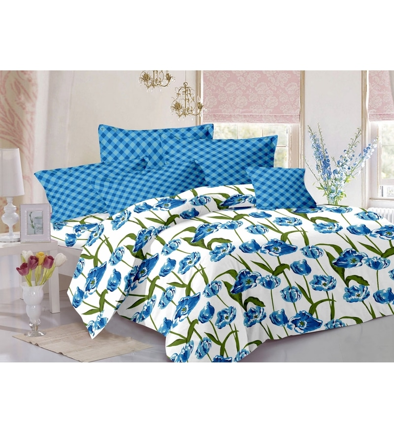 Valtellina Blue 100% Cotton Queen Size Diva Bed Sheet - Set of 3