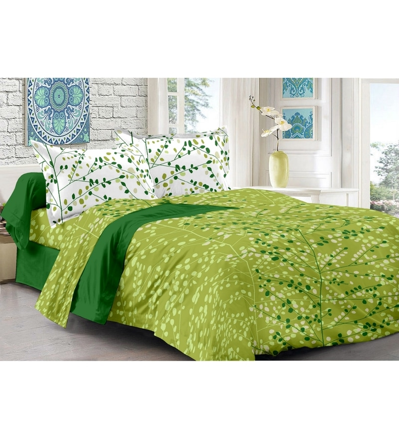 Green 100% Cotton Queen Size Della Bed Sheet - Set of 3 by Valtellina