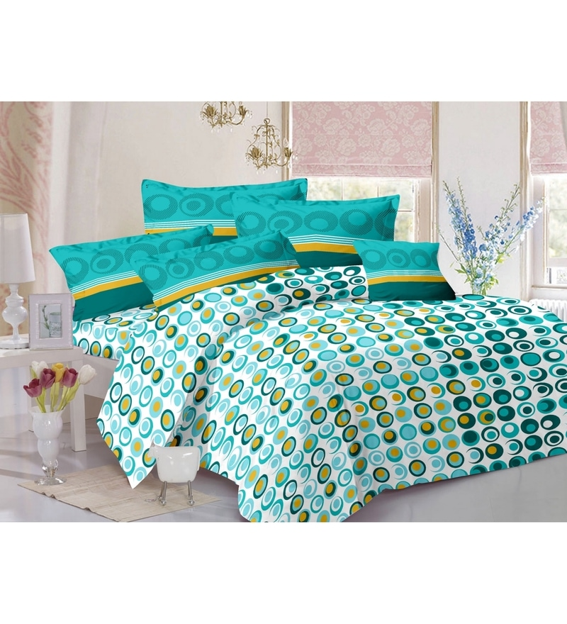 Aqua 100% Cotton Queen Size Bed Sheet - Set of 3 by Valtellina