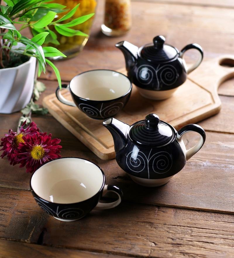 Ceramic Black Tea Pot with Cup Set of 8