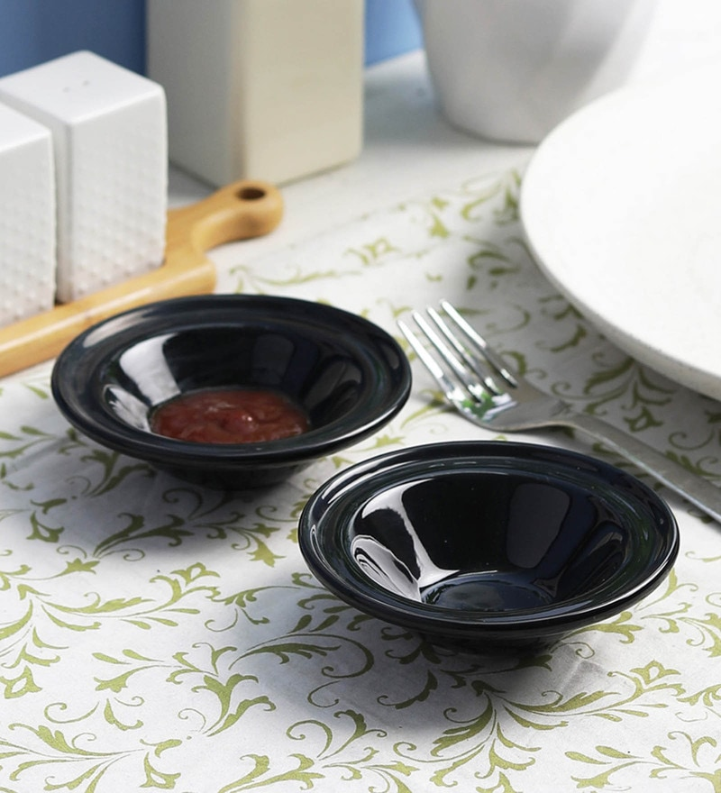 Vareesha Black Ceramic Chutney Dip Bowls - Set Of 2