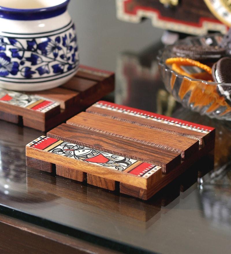 VarEesha Ethnic Brown with Multicolour Work Sheesham Wood Coasters - Set of 4