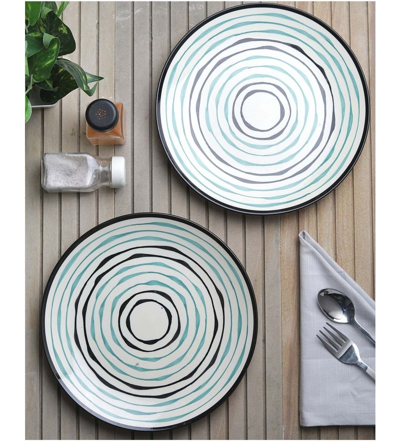 Vareesha Green Spiral Ivory Ceramic Dinner Plates - Set Of 6