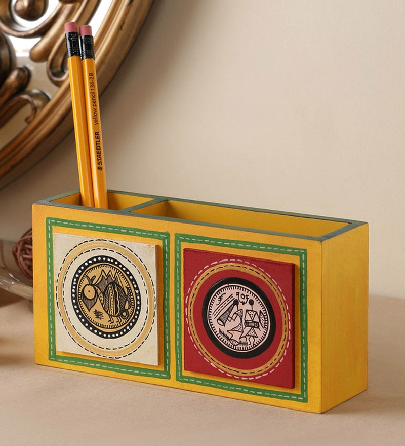 VarEesha Hand Crafted Engineered Wood Yellow Tiled Double Pen Stand