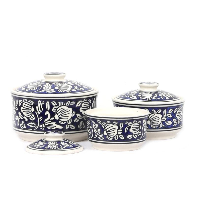 Buy Vareesha Hand Made Blue Ceramic Serving Bowl With Lid
