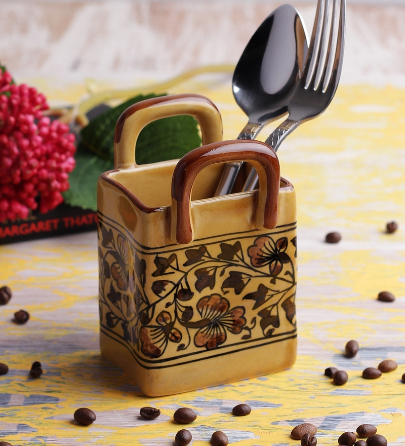 VarEesha Hand Made Ceramic Cutlery Holder Basket