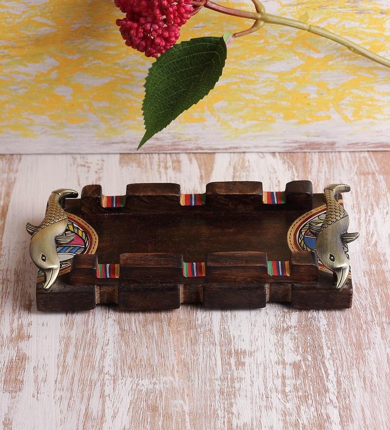 VarEesha Madhubani Wooden 9 x 5 Inch Handmade Serving Tray