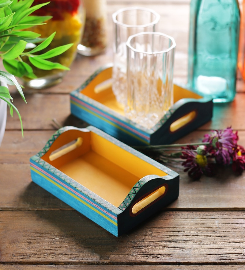 VarEesha Hand Painted Blue & Yellow MDF Trays - Set of 2